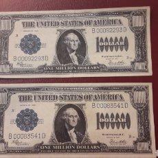 Banconote con errori: USA BILLETES 1.000.000 DÓLARES SERIES 1923 B00092293D. Y B00083541D PAGARÉS ENTRE BANCO AYUDAS. Lote 152142492