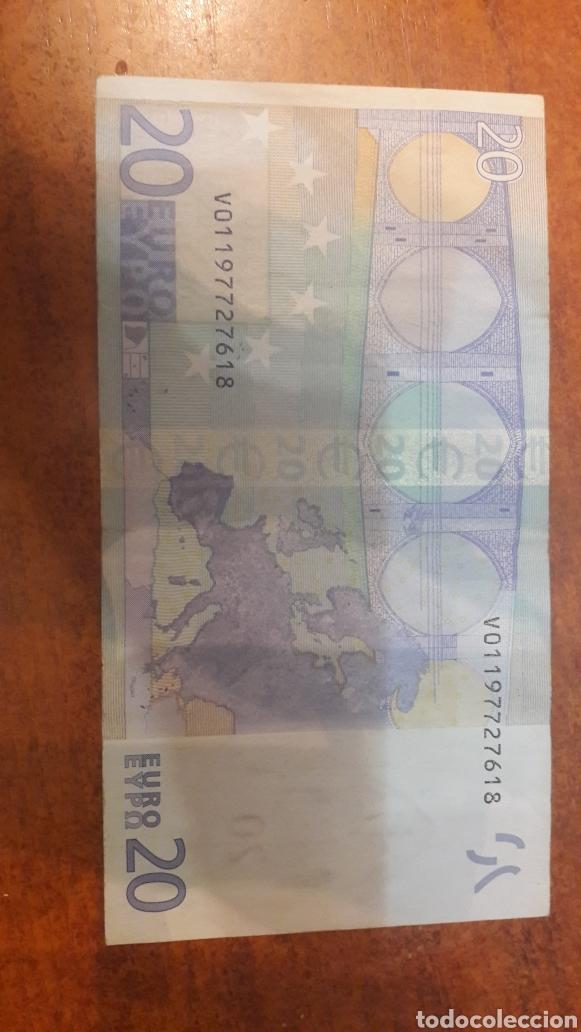 Billetes con errores: Error 2002 España Duisrnberg 20 euros Falta casi toda la banda - Foto 2 - 153436724