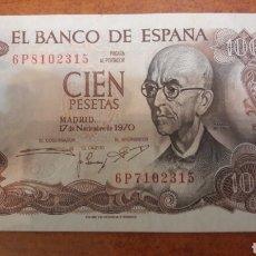 Billetes con errores: ESPAÑA ERROR NUMERACION 6P8102315 PARTE SUPERIOR 6P7102315 INFERIOR 1970 100 PTAS 17 NOVIEMBRE FALLA. Lote 153446082