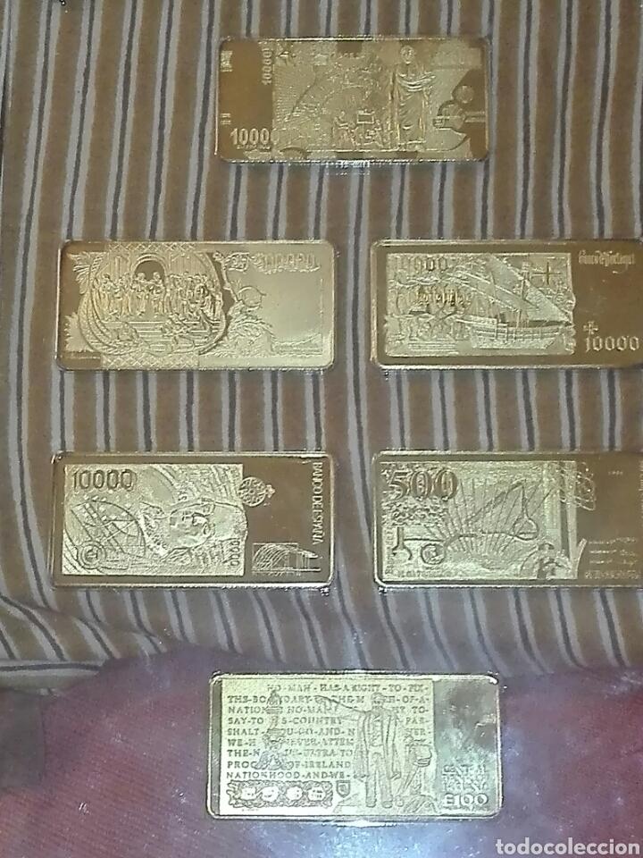 COLECCION 6 BILLETES CHAPADO EN ORO 24 KILATES SEGUN FOTOS. (Numismática - Notafilia - Variedades y Errores)