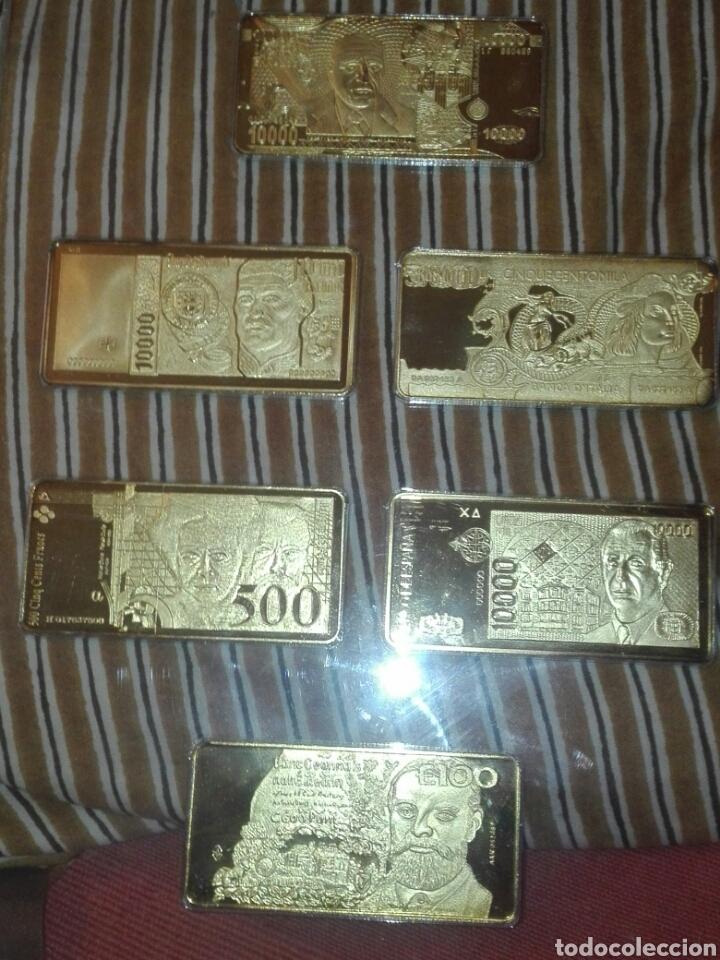 Billetes con errores: coleccion 6 billetes chapado en oro 24 kilates segun fotos. - Foto 2 - 155169433