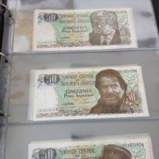 Billetes con errores: LOTE X 21 BILLETES 50 PESOS ARGENTINA CORRELATIVOS CON DIFERENTES TEMATICAS. CHE, TRUMP, PUTIN.... Lote 159827012