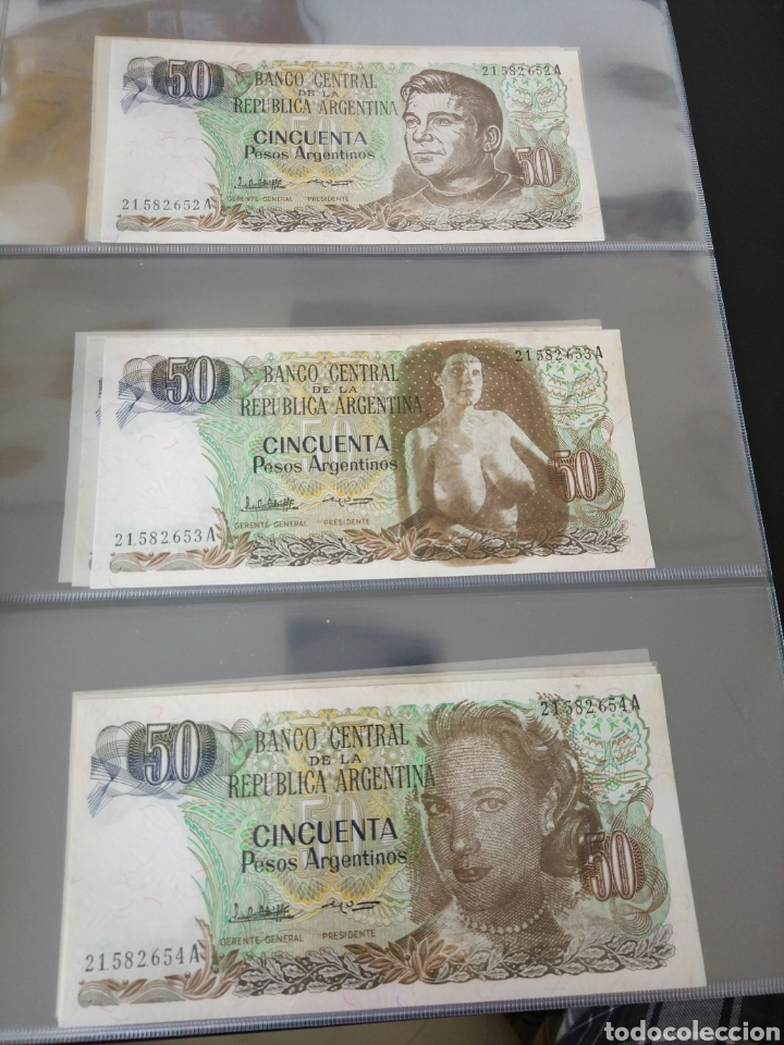 Billetes con errores: Lote x 21 billetes 50 pesos argentina correlativos con diferentes tematicas. Che, trump, putin... - Foto 3 - 159827012