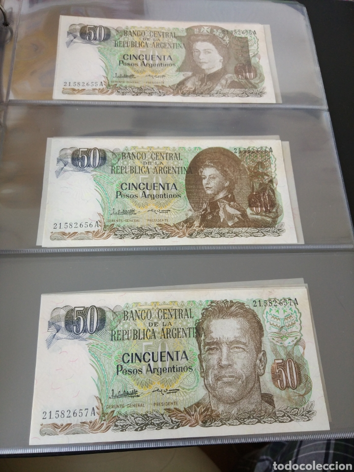 Billetes con errores: Lote x 21 billetes 50 pesos argentina correlativos con diferentes tematicas. Che, trump, putin... - Foto 5 - 159827012