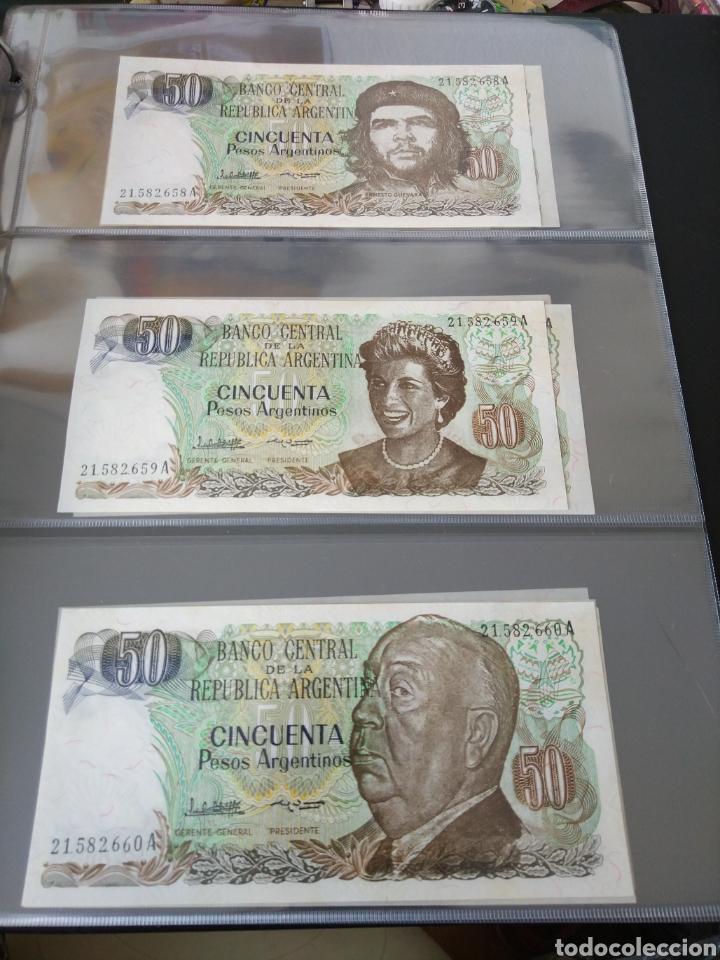 Billetes con errores: Lote x 21 billetes 50 pesos argentina correlativos con diferentes tematicas. Che, trump, putin... - Foto 7 - 159827012