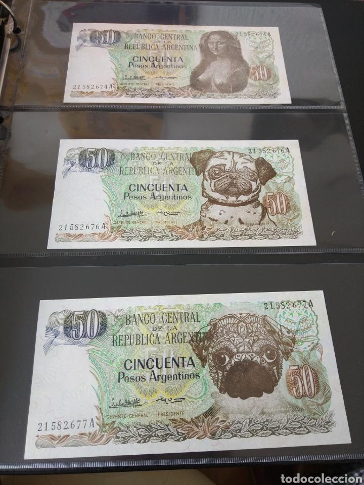 Billetes con errores: Lote x 21 billetes 50 pesos argentina correlativos con diferentes tematicas. Che, trump, putin... - Foto 11 - 159827012