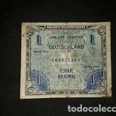 Billetes con errores: RARISIMO BILLETE 1 MARK 1944. OCUPACION MILITAR NAZI. Lote 168465988