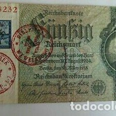 Billetes con errores: BILLETE OCUPACION NAZI SELLO ESVASTICA. ESPECTACULAR.. Lote 171126520