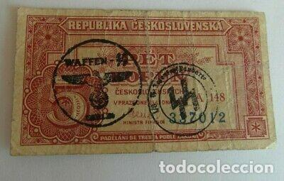 BILLETE OCUPACION NAZI SELLO ESVASTICA REPUBLICA CHECA. ESPECTACULAR. (Numismática - Notafilia - Variedades y Errores)
