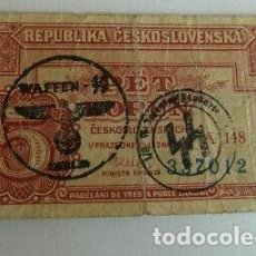 Billetes con errores: BILLETE OCUPACION NAZI SELLO ESVASTICA REPUBLICA CHECA. ESPECTACULAR.. Lote 194140898