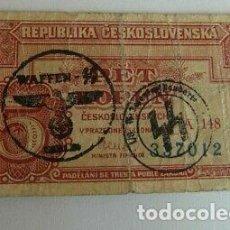 Billetes con errores: BILLETE OCUPACION NAZI SELLO ESVASTICA REPUBLICA CHECA. ESPECTACULAR.. Lote 171126913