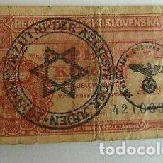 Billetes con errores: BILLETE OCUPACION NAZI SELLO ESVASTICA REPUBLICA CHECA CAMPO JUDIO. ESPECTACULAR.. Lote 171126995