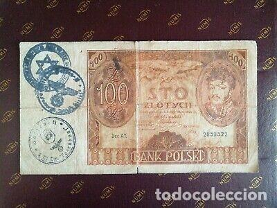 Billetes con errores: BILLETE OCUPACION NAZI 100 zloty SELLO ESVASTICA. - Foto 1 - 171139670