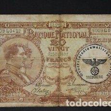 Billetes con errores: BILLETE SELLO ESVASTICA OCUPACION ALEMANA BELGICA SEGUNDA GUERRA MUNDIAL.. Lote 175864892
