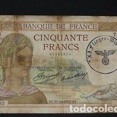 Billetes con errores: BILLETE SELLO ESVASTICA OCUPACION ALEMANA FRANCIA SEGUNDA GUERRA MUNDIAL.. Lote 175864920