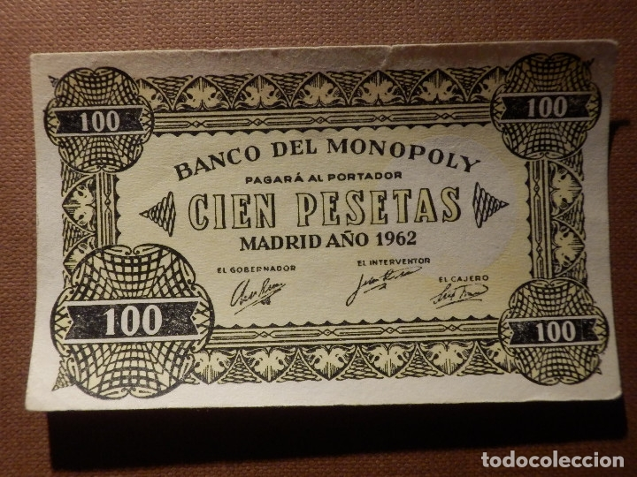 Billetes con errores: BILLETE MONOPOLY - 100 PESETAS - MADRID AÑO 1962 - Raro - Foto 1 - 208328402