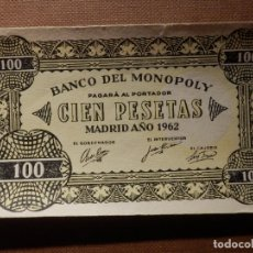 Billetes con errores: BILLETE MONOPOLY - 100 PESETAS - MADRID AÑO 1962 - RARO. Lote 176488909