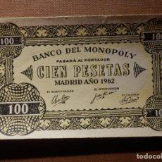 Notas com erros: BILLETE MONOPOLY - 100 PESETAS - MADRID AÑO 1962 - RARO. Lote 176488909