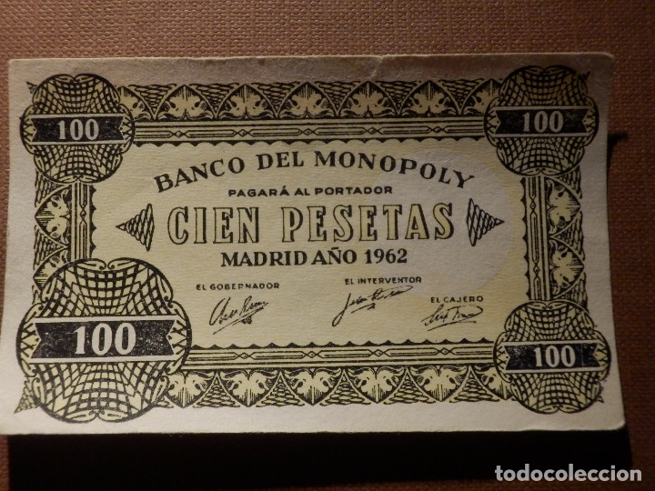 Billetes con errores: BILLETE MONOPOLY - 100 PESETAS - MADRID AÑO 1962 - Raro - Foto 2 - 208328402