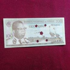 Billetes con errores: CONGO. 100 FRANCOS 1964. Lote 177731368