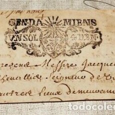 Billetes con errores: RARO BILLETE DOCUMENTO DE PAGO FRANCIA NAPOLEON.. Lote 181444030