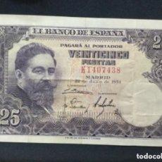 Billetes con errores: 25 PESETAS 1954 - SERIE K - MBC - DESPLAZADO TANTO ANVERSO COMO REVERSO. Lote 182571133