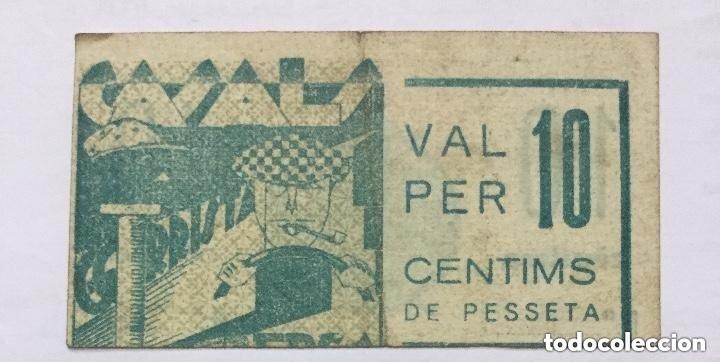BILLETE VALE 10 CENTIMOS DE PESETA - CASALS - GORRISTA - BERGA - ERROR DE IMPRESION -DESPLAZADO RARO (Numismática - Notafilia - Variedades y Errores)