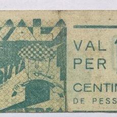 Billetes con errores: BILLETE VALE 10 CENTIMOS DE PESETA - CASALS - GORRISTA - BERGA - ERROR DE IMPRESION -DESPLAZADO RARO. Lote 182588630
