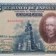 Billetes con errores: 25 PESETAS DE 1928 SERIE B, CON GRAN ERROR DE ENCUADRAMIENTO,SIN CIRCULAR/PLANCHA. Lote 182596020
