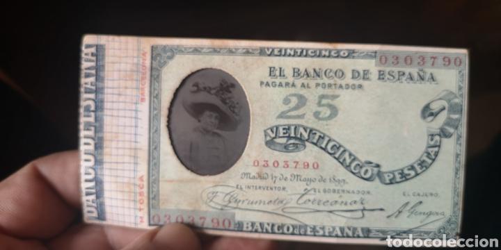 EXTRAÑO BILLETE DEL BANCO DE ESPAÑA CON FOTOGRAFÍA DE DAMA, FINALES DEL SIGLO 19 PRINCIPIOS DEL SIGL (Numismática - Notafilia - Variedades y Errores)