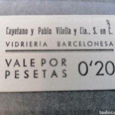 Billetes con errores: VIDRIERA BARCELONESA CAYETANO Y PABLO VILELLA. Lote 187589093