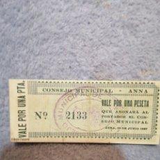 Billetes con errores: CONSEJO MUNICIPAL ANNA FACSÍMIL. Lote 188582861