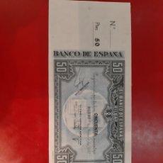 Billetes con errores: 1937 BANCO ESPAÑA DE BILBAO 1 ENERO CAJA AHORROS Y MONTE PIEDAD MUNICIPAL DE BILBAO 50 PESETAS. Lote 189744098