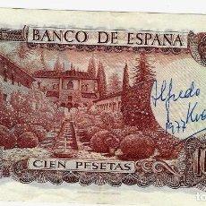 Billetes con errores: BILLETE 100 PTAS 1.970. CON FIRMA DE ALFREDO KRAUS. Lote 190753917