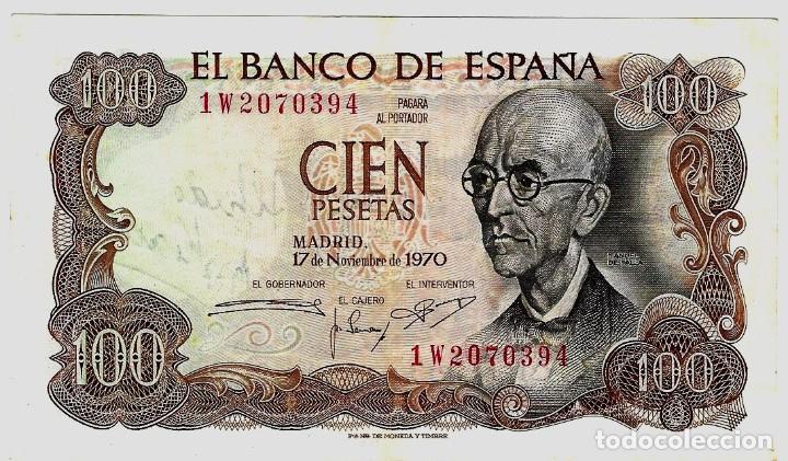 Billetes con errores: BILLETE 100 PTAS 1.970. CON FIRMA DE ALFREDO KRAUS - Foto 2 - 190753917