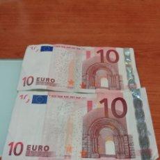 Billetes con errores: BILLETES DE 10 EUROS TRICHET, SERIE X CECA G Y P. Lote 191633352