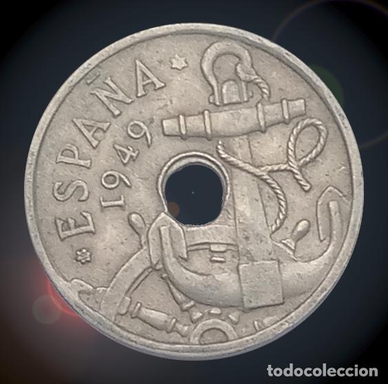 ERROR DOBLE TALADRO 50 CÉNTIMOS 1949 ESTADO ESPAÑOL ESTRELLAS 19 ** FRANCO (Numismática - Notafilia - Variedades y Errores)