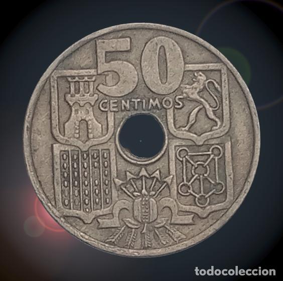 Billetes con errores: Error doble taladro 50 céntimos 1949 Estado Español estrellas 19 ** Franco - Foto 2 - 194324566