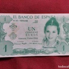 Notas com erros: FALLAS DE VALENCIA. BILLETE DE FANTASÍA DE 1 EURO. FALLA CONVENTO DE JERUSALÉN 2006. Lote 194881727