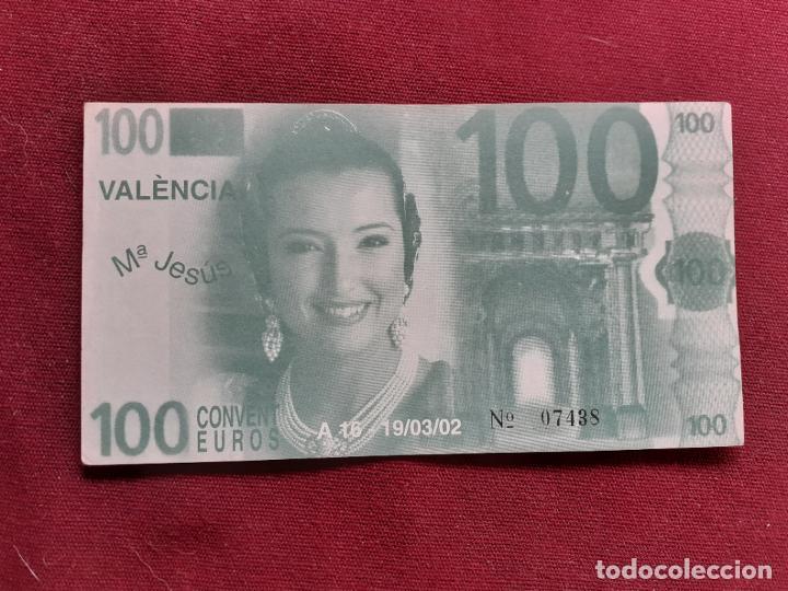FALLAS DE VALENCIA. BILLETE DE FANTASÍA DE 100 EUROS. FALLA CONVENTO DE JERUSALÉN 2002 (Numismática - Notafilia - Variedades y Errores)