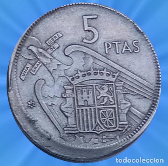 ERROR 5 PESETA 1957 ESTRELLAS 19 68 ACUÑACION DESPLAZADA XXX (Numismática - Notafilia - Variedades y Errores)