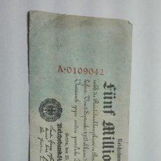 Billetes con errores: 20-BILLETE DE 5 MILLONES DE MARCOS DE ALEMANIA DEL AÑO 1923. Lote 195097551