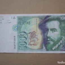 Billetes con errores: BILLETE 1000 PESETAS 1992 - HERNAN CORTES - FALSIFICIACION DE EPOCA.. Lote 195398532