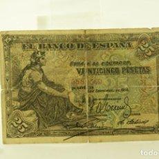 Notas com erros: CLASICO FALSO DE EPOCA 25 PTAS 1906. Lote 196779122