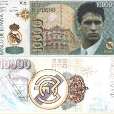 Billetes con errores: BILLETE RAUL REAL MADRID 10.000 PESETAS. Lote 205379090