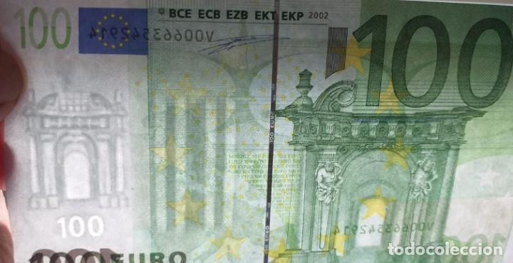 Billetes con errores: BILLETE DE 100 € FALLO DE IMPRESIÓN AL NO TENER holograma AÑO 2OO2 - Foto 5 - 205791317