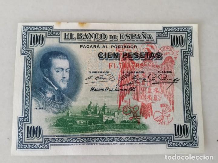 BONITO BILLETE 100 PESETAS 1925 RESELLO ROJO AGUILA FRANQUISTA Y FALANGE (Numismática - Notafilia - Variedades y Errores)