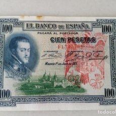 Billetes con errores: BONITO BILLETE 100 PESETAS 1925 RESELLO ROJO AGUILA FRANQUISTA Y FALANGE. Lote 206966627