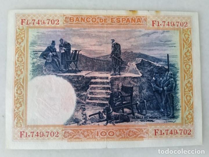Billetes con errores: BONITO BILLETE 100 PESETAS 1925 RESELLO ROJO AGUILA FRANQUISTA Y FALANGE - Foto 2 - 206966627