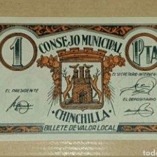Billetes con errores: EXEPCIONAL BILLETE LOCAL DE 1 PESETA DE CHINCHILLA CON ERROR DE IMPRESIÓN DE TINTA SC/ PLANCHA. Lote 210388916